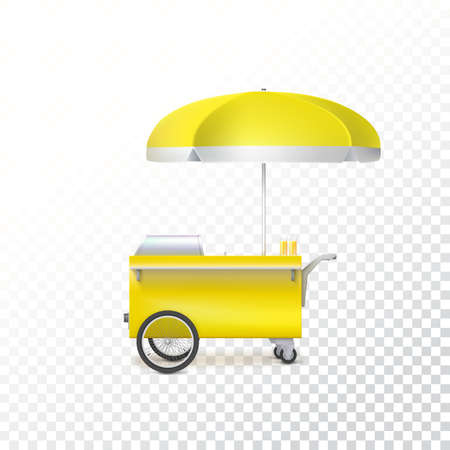 street vendor: Yellow fast food hot dog cart. Street food market, trolley stand vendor service. Kiosk seller fast food business. Vector icon on transparent background, isolated object