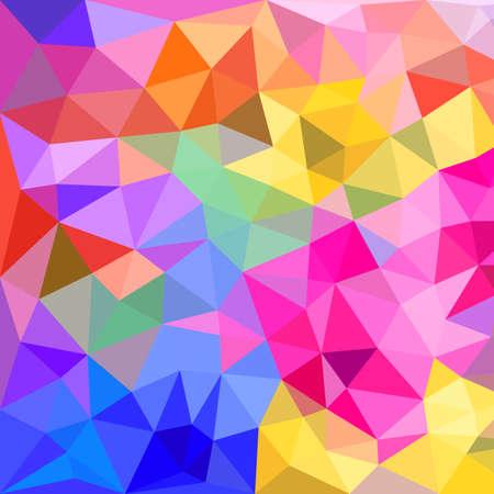 Abstract polygonal triangles background. Colorful vivid background of colored triangles with kaleidoscope effect Ilustração