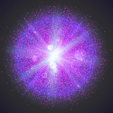 outburst: Bright glowing ball filled with particles and dust with shine and glow. The specks of light flying from the explosion