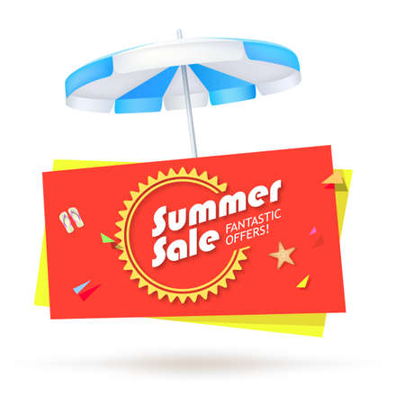 beach ad: Summer sale, special offer sales banner with umbrella, slippers and starfish on bright background. Design of summer promotional poster, editable vector illustration.