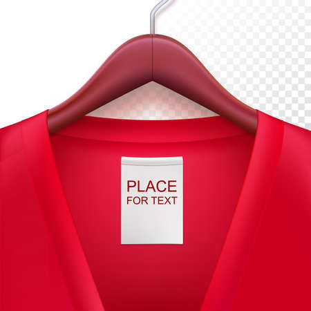 clothes hanging: Jacket with label hanging on a hanger. Clothes hanger with red jacket on trasparent background. The template for your design or advertising messages. Illustration