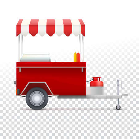 street vendor: Red fast food hot dog cart. Street food market, trolley stand vendor service. Kiosk seller fast food business. Vector icon on transparent background, isolated object