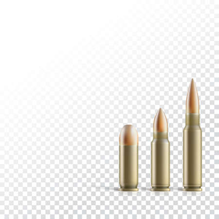 cartridge: Cartridge with a bullet from a pistol, machine gun, and rifle isolated on transparent background. Photo-realistic illustration