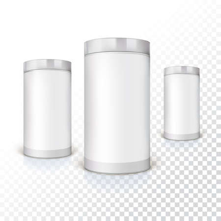 Set of round tins, packaging on trasparent background. Container cylindrical shaped, vector illustration. Illustration