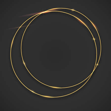 Sparkling golden glow rings, frame with light effect on dark background. Spark with ring glossy line, abstract vector composition. Great backdrop for the wedding ceremony or invitation cards