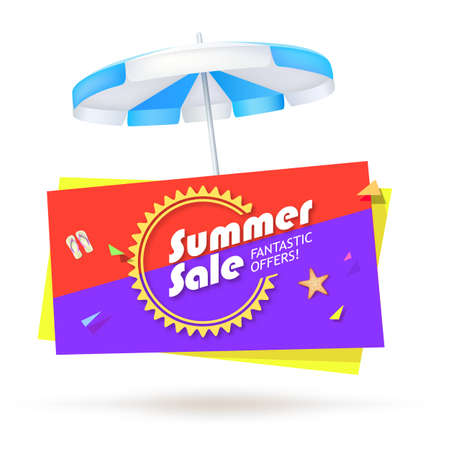 Summer sale, special offer sales banner with umbrella, slippers and starfish on bright background. Design of summer promotional poster, editable vector illustration.