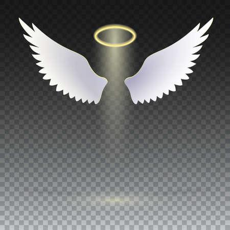 透明な背景の上に浮かんで金色の光輪と天使の翼します。信仰、宗教、神秘主義、魔法、魔法、奇跡の象徴。翼と金色の光輪。