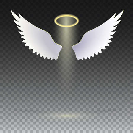 Angel wings with golden halo hovering on the transparent background. The symbol of faith, religion, mysticism, magic, magic and miracles. Wings and golden halo. Stock Illustratie