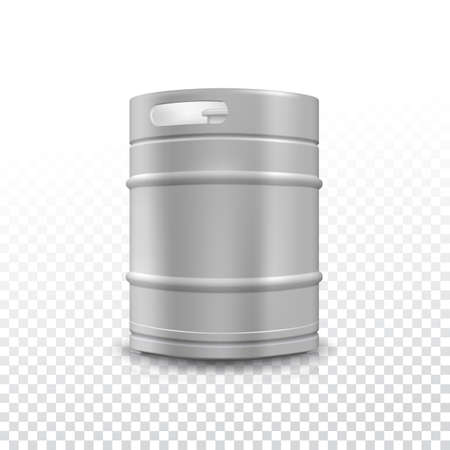 draught: Metal beer keg with grained and shadow on transparent background, vector illustration.