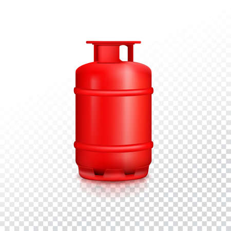 gas tank: Propane gas balloon with reflexes. Red gas tank, gas container on transparent background. Illustration