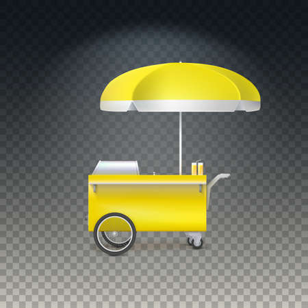 street vendor: Yellow fast food hot dog cart. Street food market, trolley stand vendor service. seller fast food business. Vector icon on transparent background, isolated object Illustration