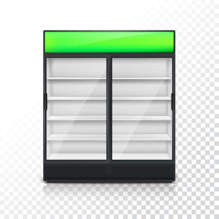 chiller: Fridge for drink with glass door and green lightbox, on a transparent background. Mock-up or template for your design and advertising message Illustration