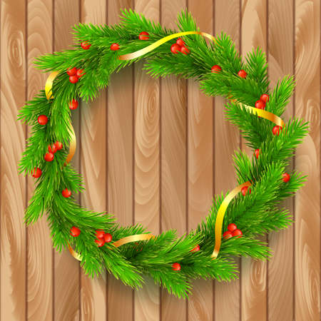 viburnum: Traditional Christmas wreath made of green fir branches with red berries of viburnum, Golden ribbon on a wooden background. Vector, editable illustration
