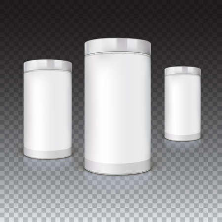 tare: Set of round tins, packaging on trasparent background. Container cylindrical shaped, vector illustration. Illustration