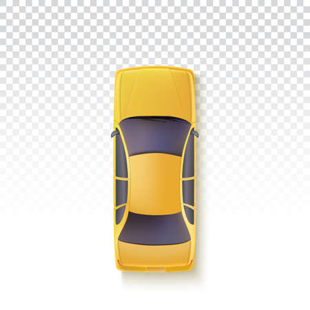 Vector Yellow Taxi - Top view. Yellow car on a transparent background