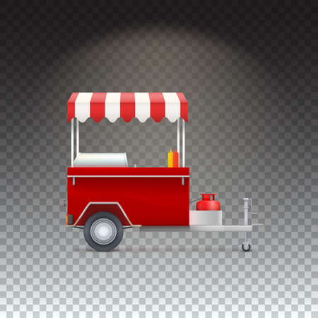 street vendor: Red fast food hot dog cart. Street food market, trolley stand vendor service. seller fast food business. Vector icon on transparent background, isolated object Illustration