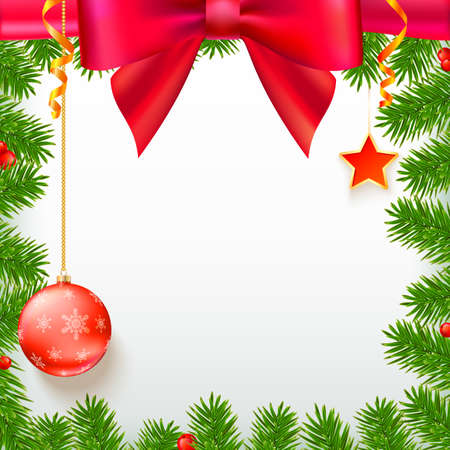 viburnum: Christmas background with fir branches, red viburnum berries, Christmas balls, beads, a red star with ash trim, New Year ornaments and streamers on white background with place for your text.