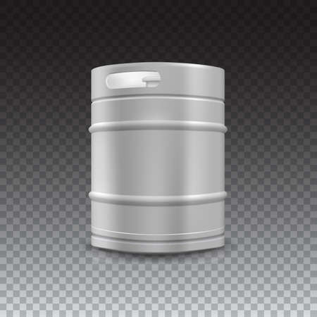 steel drum: Metal beer keg with grained and shadow on transparent background, vector illustration.