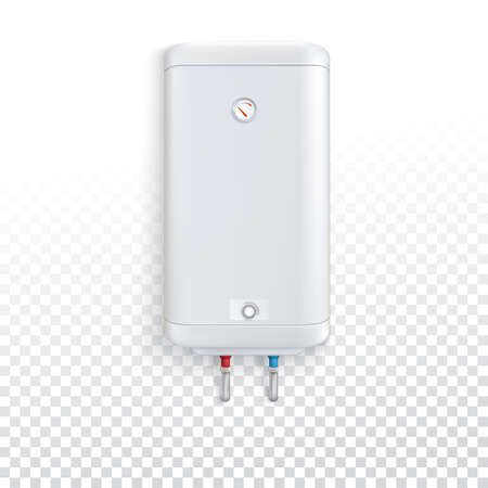 White electric water heater with controller and indicator of the heating water on transparent background. Vector illustration