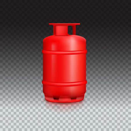 propane: Propane gas balloon with reflexes. Red gas tank, gas container on transparent background. Illustration