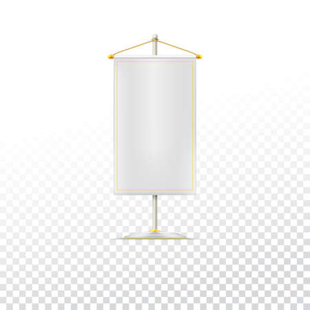 chrome base: White pennant or flag on chrome base with gold cord on trasparent background