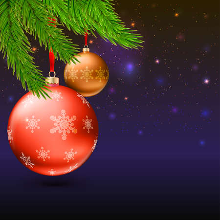 Christmas balls with green fir branches on the background with flash and Christmas lights. Realistic vector bright balls with snowflakes. Greeting card with golden text, editable eps 10