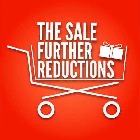 Ulteriori poster di riduzioni con un cestino. Carrello su sfondo rosso, il simbolo di vendita, illustrazione vettoriale per il vostro disegno