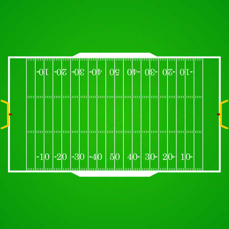A realistic aerial view of an official American football field. Top view with marking, easily resizable. Template for a website, mobile application, presentation, corporate identity design Illustration