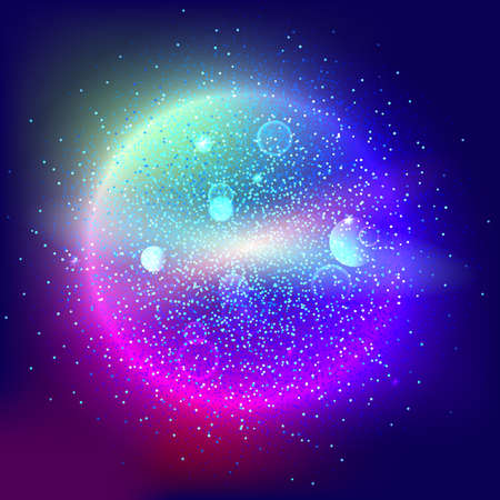 lensflare: Bright glowing ball filled with particles and dust with shine and glow. The specks of light flying from the explosion