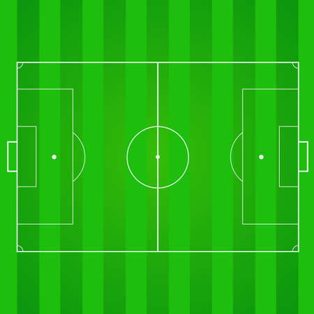 Football, soccer green, realistic, textured field. Top view with marking, easily resizable and any other elements. Template for a website, mobile application, presentation, corporate identity design Illustration