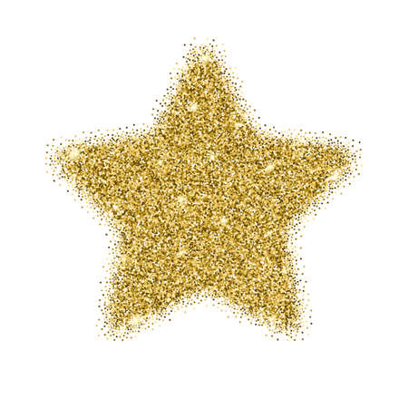 Icon of Five-pointed star with gold sparkles and glitter, glow light, bright sequins, sparkle tinsel, shimmer dust. Five-pointed star sign isolated on white background Illustration
