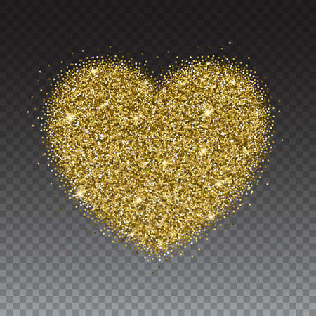 Icon of Heart with gold sparkles and glitter, glow light, bright sequins, sparkle tinsel, shimmer dust. Heart sign isolated on transparent background Illustration