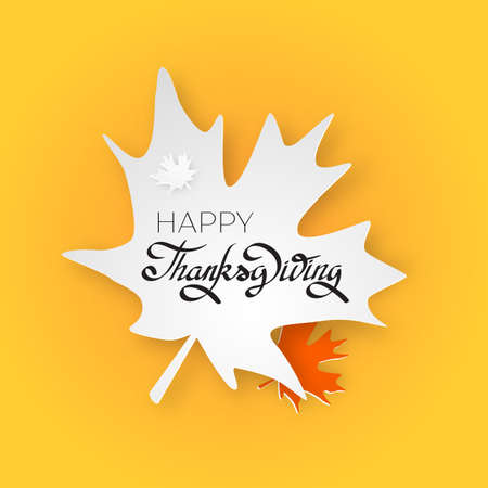 Happy thanksgiving day greeting card with hand lettering on yellow background. Give thanks black text on white maple leaf Illustration