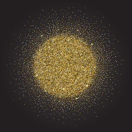 glitzy: Gold glitter and bright sand, dark background.Golden sparkles, shiny texture,. Excellent for your greeting cards, luxury invitation, advertising, certificate Illustration