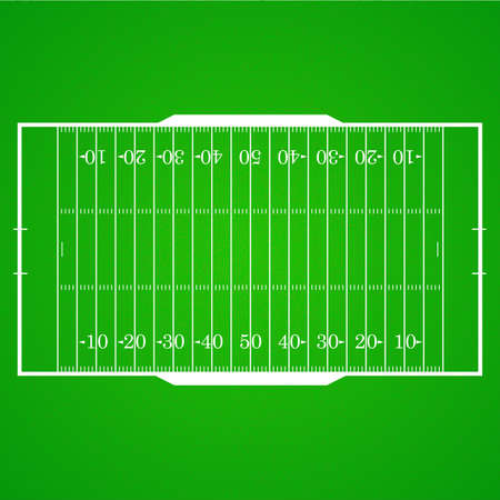 A realistic aerial view of an official American football field. Top view with marking, easily resizable.