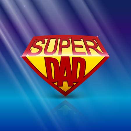 超级爸爸盾在蓝色背景的贺卡与光线。可编辑的矢量图