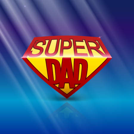 super dad: Super dad shield greeting card on blue background with rays of light. Editable vector illustration