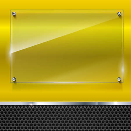 Elegant vector metallic background with glass banner. Color polished texture with highlights and glow on the yellow background of metal mesh. Vector editable texture, easy to change size