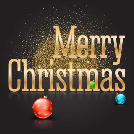 Greeting card with a big golden inscription Merry Christmas and color Christmas balls with snowflakes on a magical background with gold glitter and glowing. Template for your greeting cards Illustration