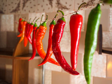Red and green chilli peppers hanging on a rope. Peppers photographed with soft, selective focus Stock Photo