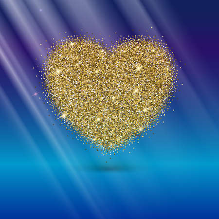 shiny hearts: Icon of Heart with gold sparkles and glitter, glow light, bright sequins, sparkle tinsel, shimmer dust. Heart sign isolated on blue background