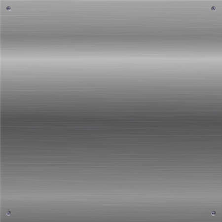 Gray shiny brushed, polished metal background with screws in a corners. Illustration