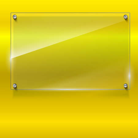 Elegant vector background with glass banner. Color polished texture with highlights and glow on the yellow background. Vector editable texture, easy to change size