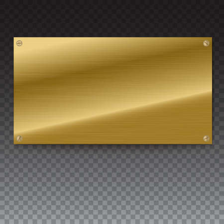 wallpaper copper gold golden: Shiny brushed metal gold, yellow plate banners on white background Stainless steel background, vector illustration for you