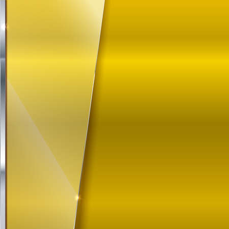 Elegant vector yellow background with glass banner. Color polished texture with highlights and glow on the background. Vector editable texture, easy to change size
