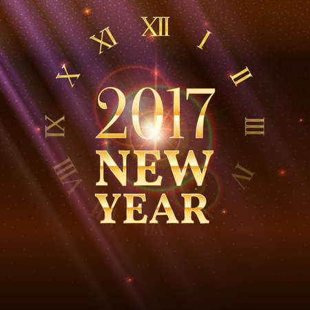 refractions: 2017 New Year shining banner with clock. Festive background with patches of light, refractions and reflections of bright rays. Vector illustration, template for your greeting card