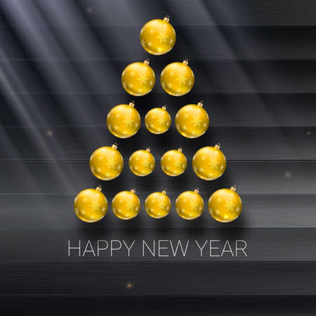 Christmas tree made from yellow christmas balls on the wooden background and rays of light with shiny sparkles. Vector 3D illustration, template for your greeting card