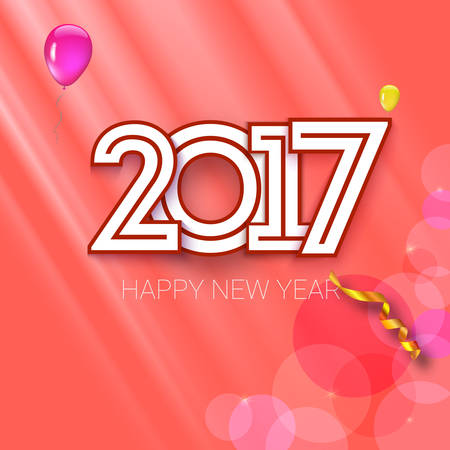 Christmas card with coming 2017 year. Bright background with serpentine, ribbons and balloons. Vector illustration, template for your greeting cards Illustration