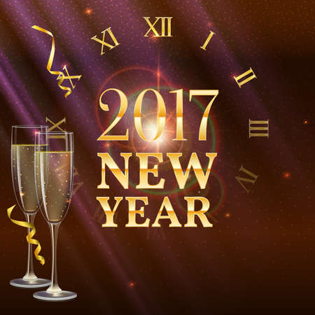 refractions: 2017 New Year shining banner with a clock and champagne glasses. Festive background with light, refractions and reflections of bright rays. Vector illustration, template for your greeting card