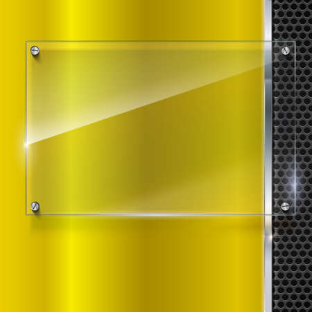 Elegant vector yellow metallic background with glass banner. Color polished texture with highlights and glow on the background of metal mesh. Vector editable texture, easy to change size Illustration